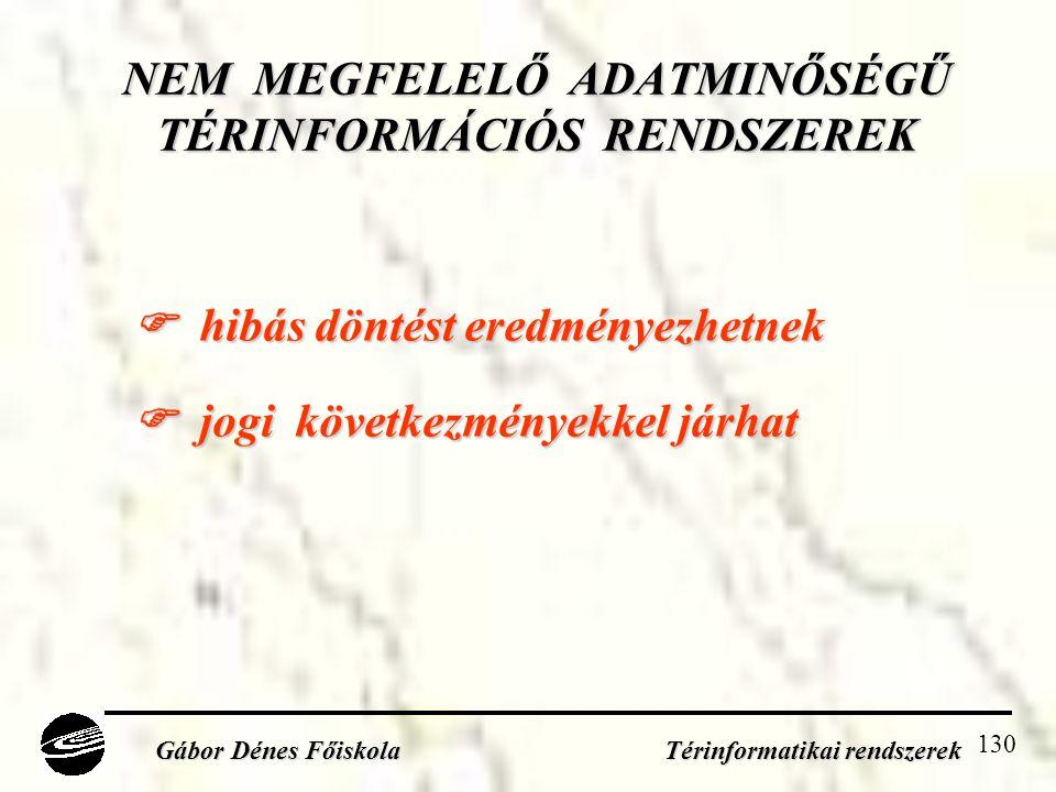 NEM MEGFELELŐ ADATMINŐSÉGŰ TÉRINFORMÁCIÓS RENDSZEREK