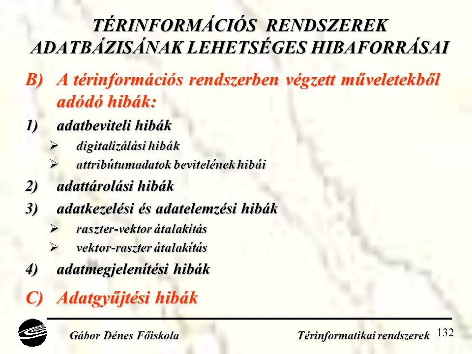 TÉRINFORMÁCIÓS RENDSZEREK ADATBÁZISÁNAK LEHETSÉGES HIBAFORRÁSAI