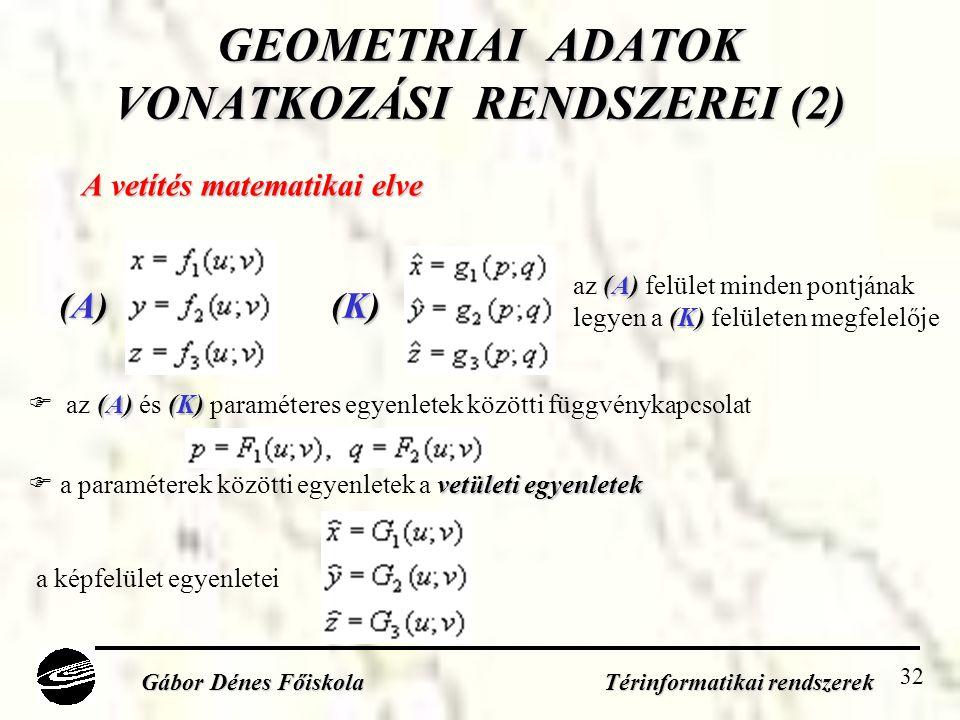 GEOMETRIAI ADATOK VONATKOZÁSI RENDSZEREI (2)