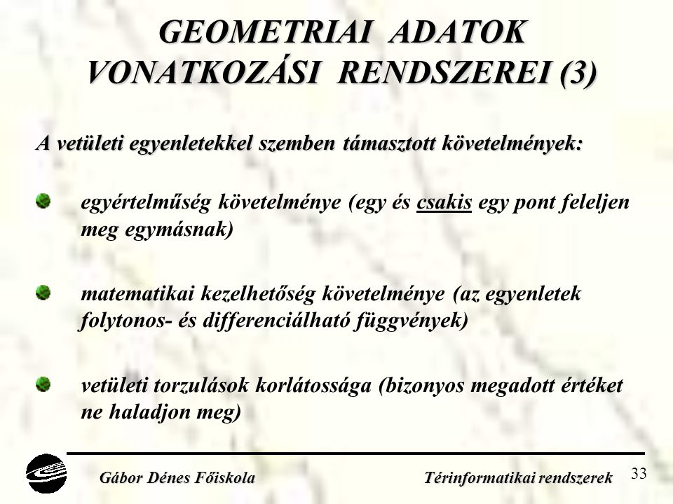 GEOMETRIAI ADATOK VONATKOZÁSI RENDSZEREI (3)