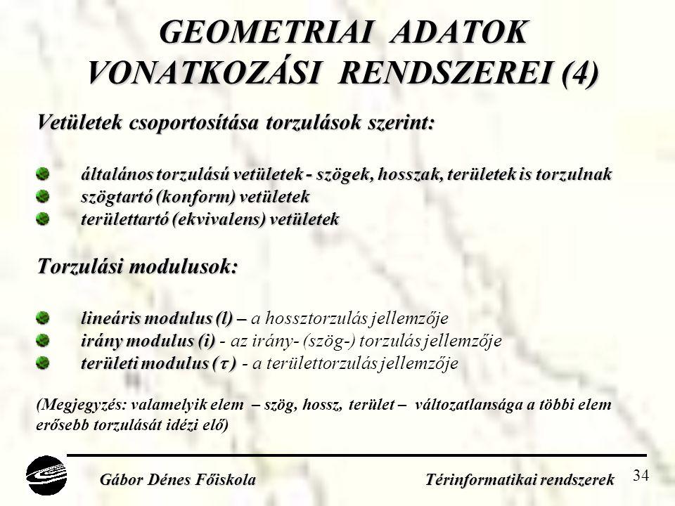 GEOMETRIAI ADATOK VONATKOZÁSI RENDSZEREI (4)