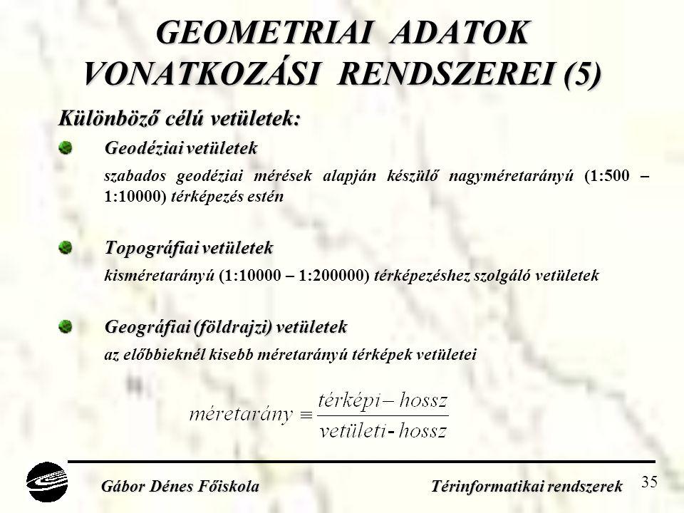 GEOMETRIAI ADATOK VONATKOZÁSI RENDSZEREI (5)
