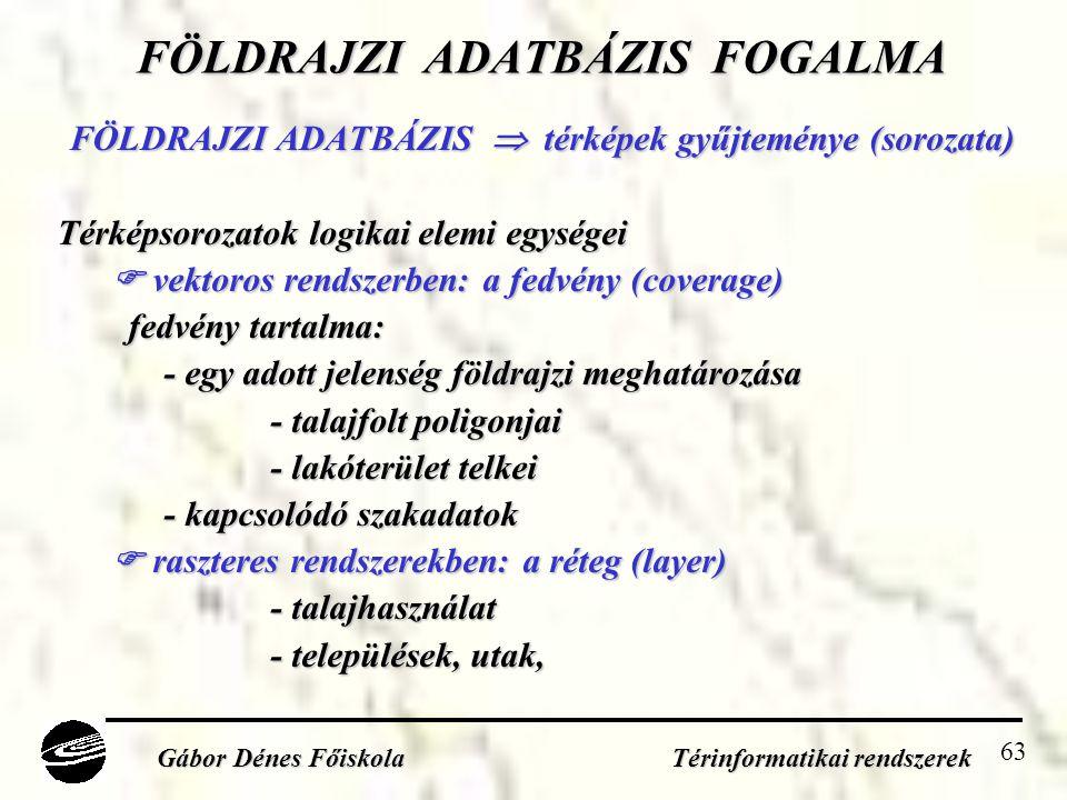 FÖLDRAJZI ADATBÁZIS FOGALMA