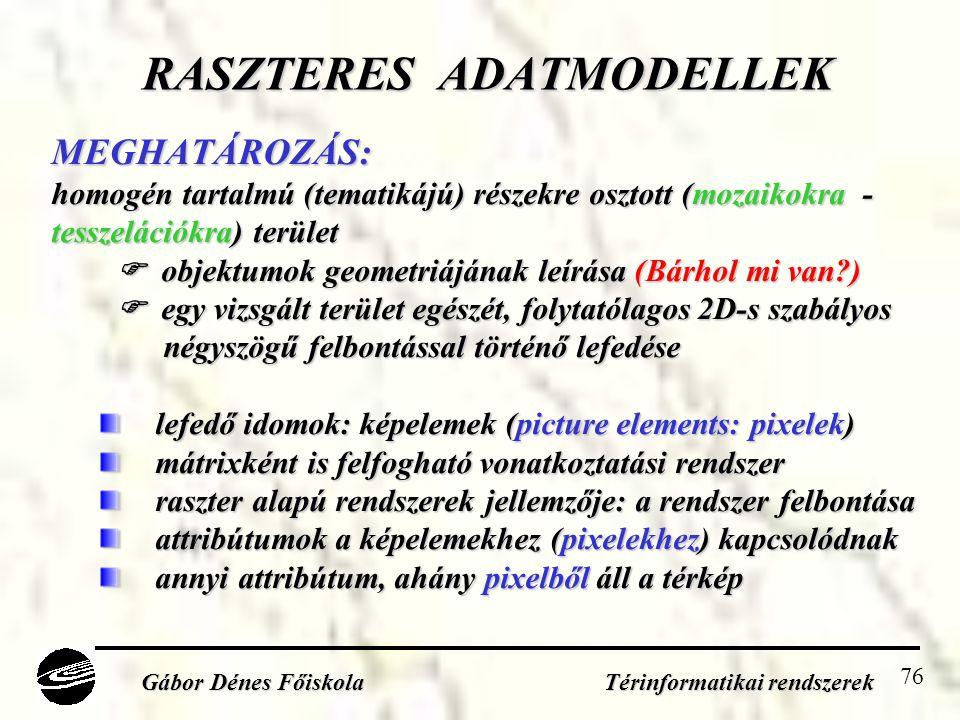RASZTERES ADATMODELLEK