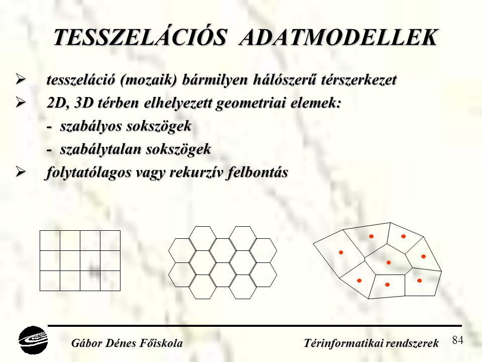 TESSZELÁCIÓS ADATMODELLEK