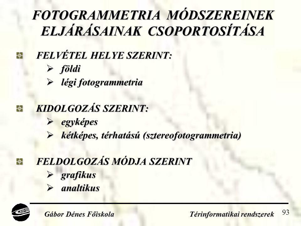 FOTOGRAMMETRIA MÓDSZEREINEK ELJÁRÁSAINAK CSOPORTOSÍTÁSA