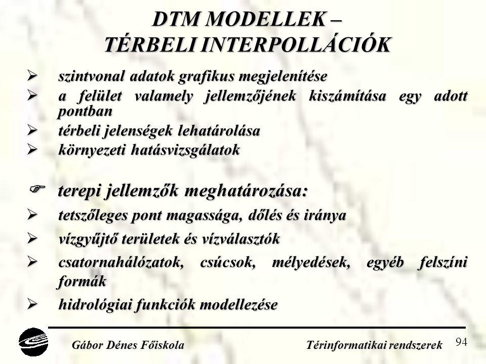 DTM MODELLEK – TÉRBELI INTERPOLLÁCIÓK
