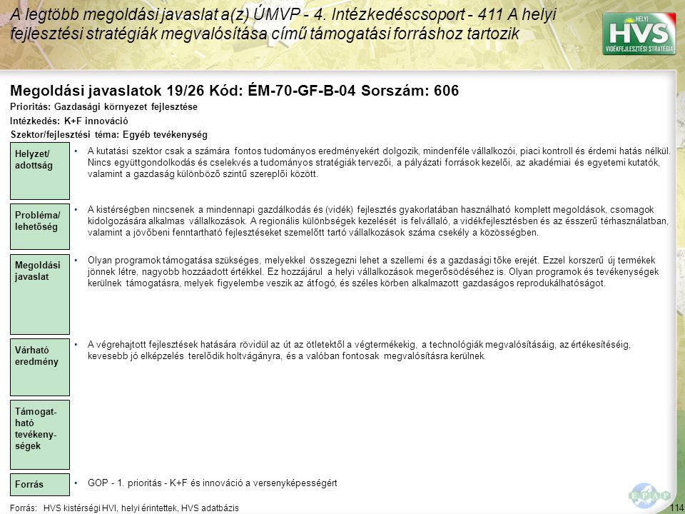Megoldási javaslatok 19/26 Kód: ÉM-70-GF-B-04 Sorszám: 606