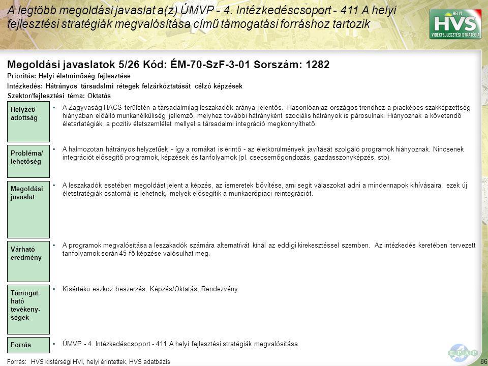 Megoldási javaslatok 5/26 Kód: ÉM-70-SzF-3-01 Sorszám: 1282