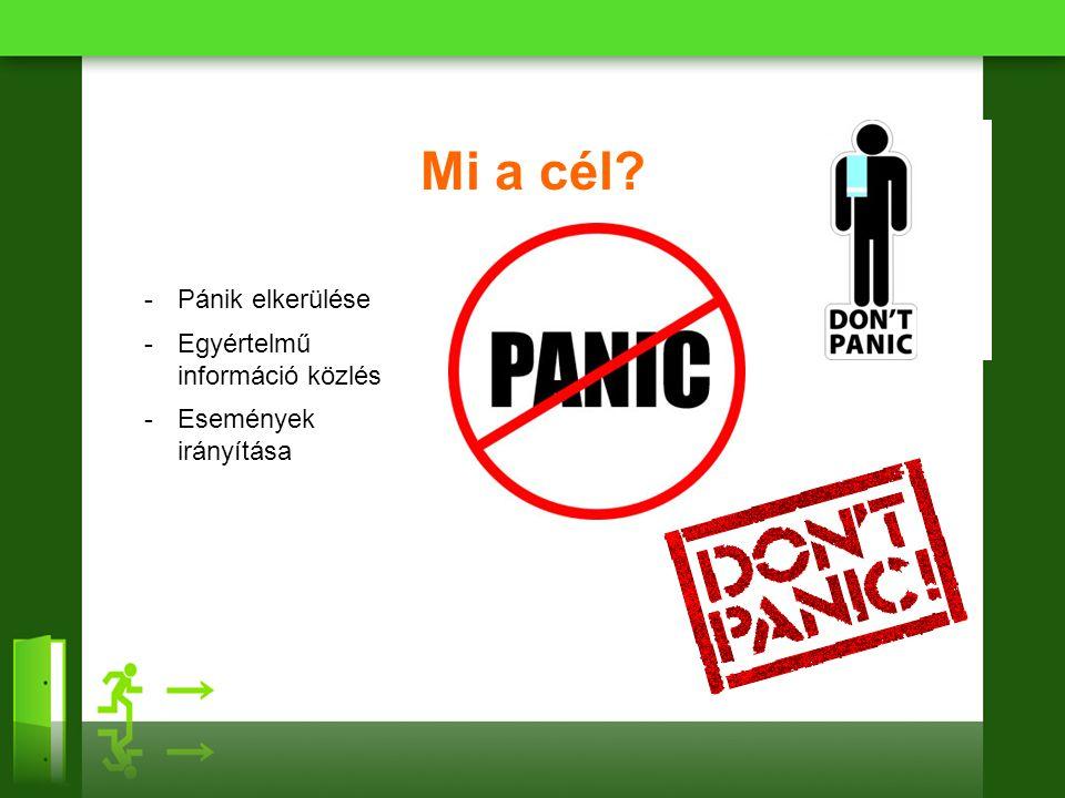 Mi a cél Pánik elkerülése Egyértelmű információ közlés