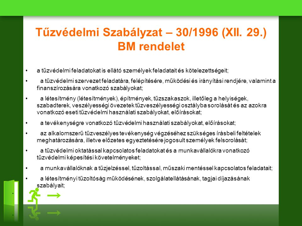 Tűzvédelmi Szabályzat – 30/1996 (XII. 29.) BM rendelet