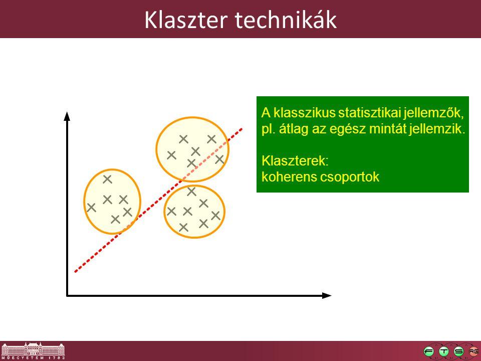 Klaszter technikák A klasszikus statisztikai jellemzők,
