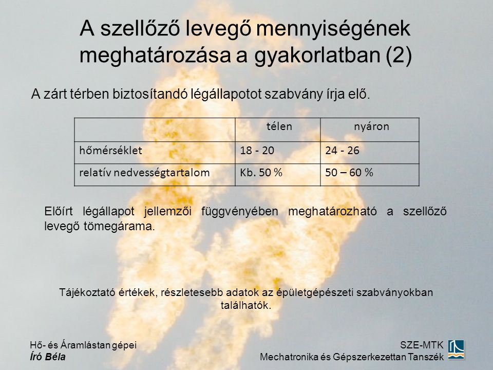 A szellőző levegő mennyiségének meghatározása a gyakorlatban (2)