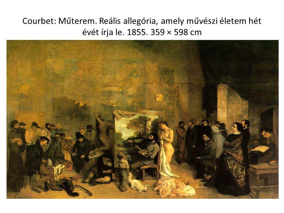 Courbet: Műterem. Reális allegória, amely művészi életem hét évét írja le. 1855. 359 × 598 cm