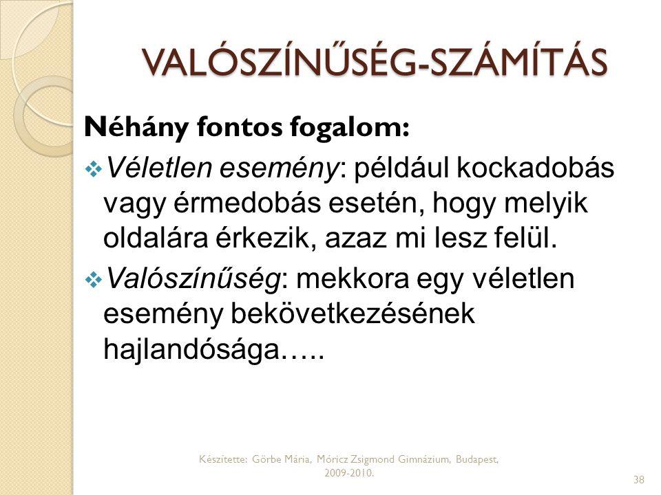 VALÓSZÍNŰSÉG-SZÁMÍTÁS