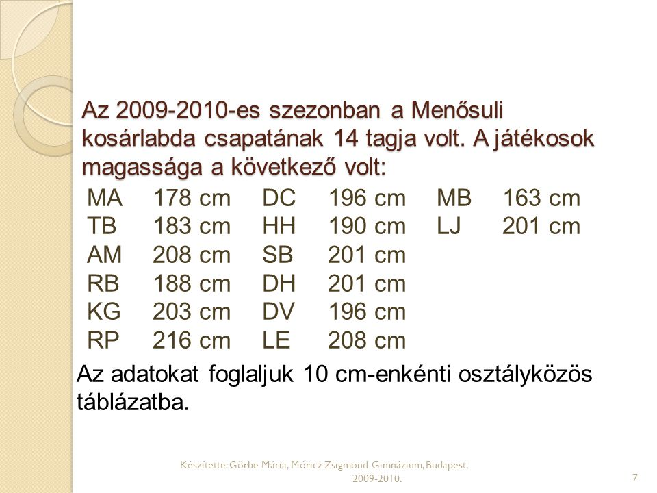 Az adatokat foglaljuk 10 cm-enkénti osztályközös táblázatba.