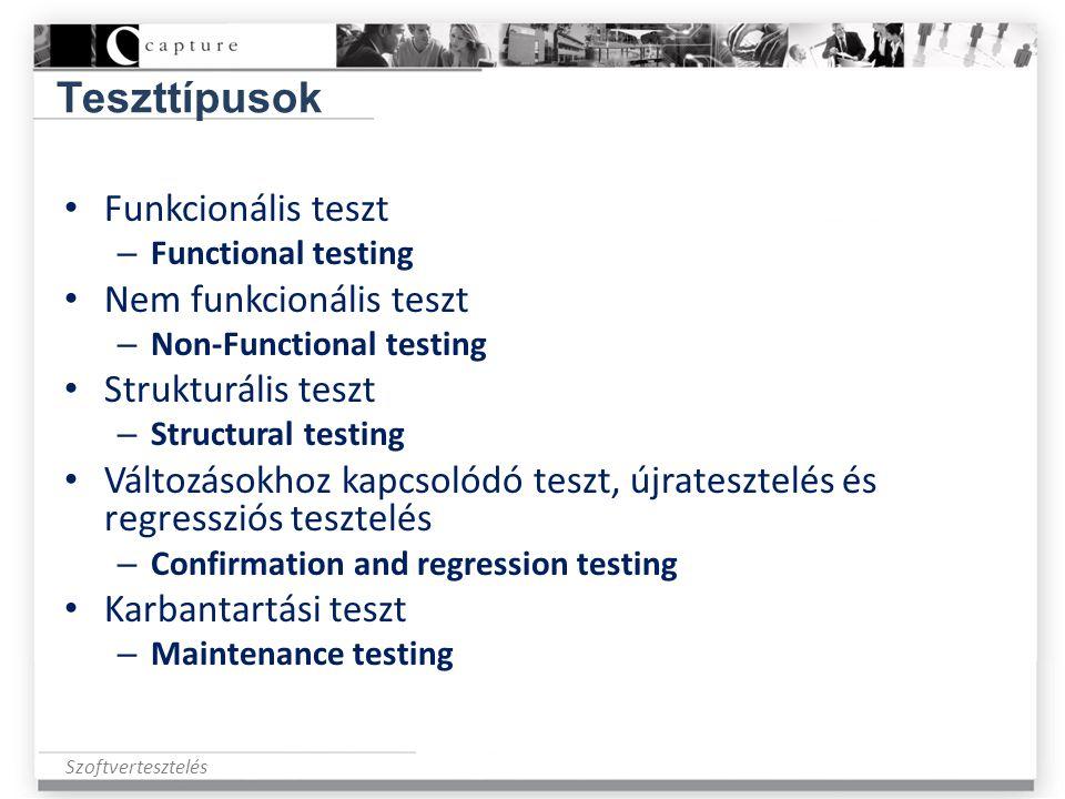 Teszttípusok Funkcionális teszt Nem funkcionális teszt