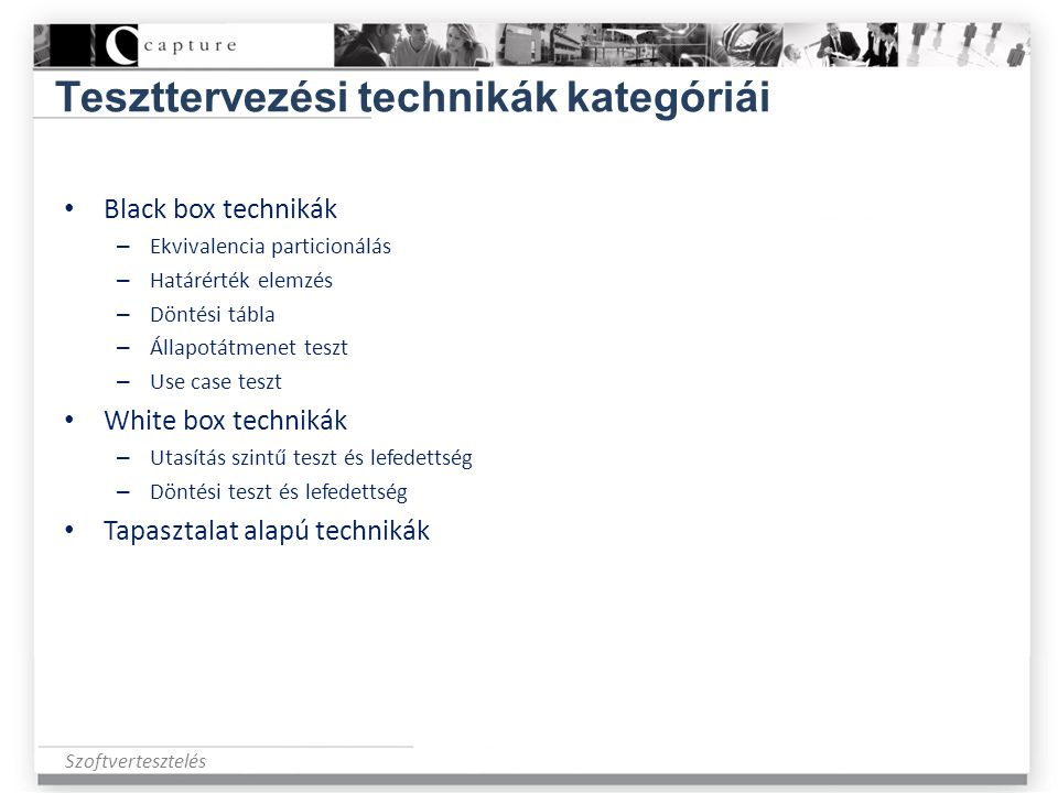 Teszttervezési technikák kategóriái
