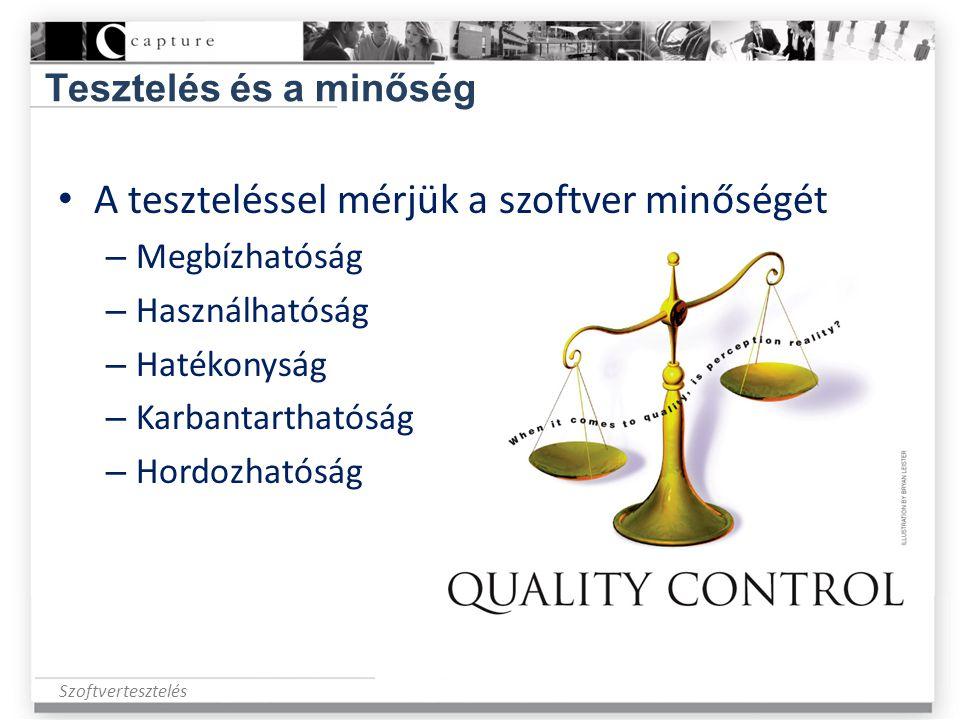 A teszteléssel mérjük a szoftver minőségét