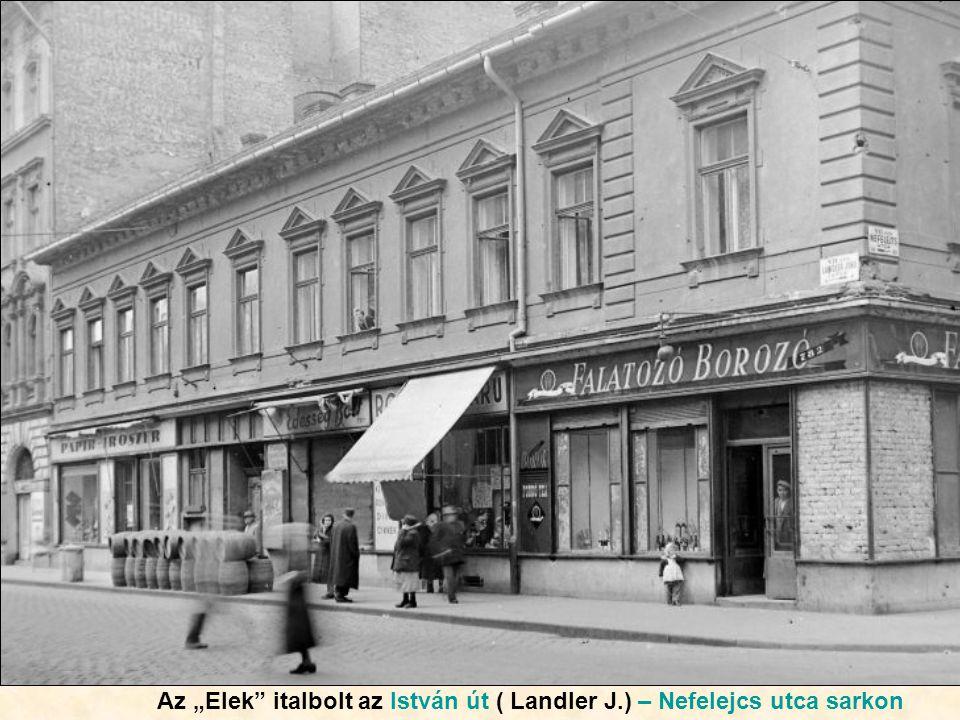 """Az """"Elek italbolt az István út ( Landler J.) – Nefelejcs utca sarkon"""