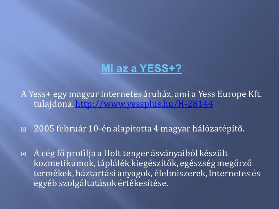 Mi az a YESS+ A Yess+ egy magyar internetes áruház, ami a Yess Europe Kft. tulajdona. http://www.yessplus.hu/H-28144.