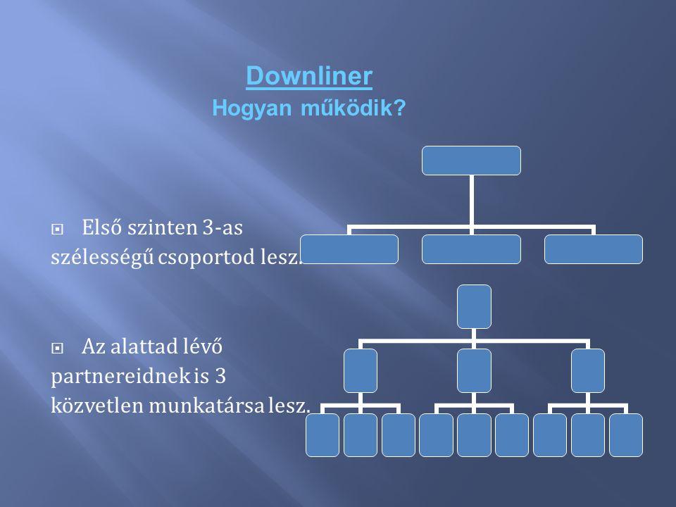Downliner Hogyan működik Első szinten 3-as szélességű csoportod lesz.
