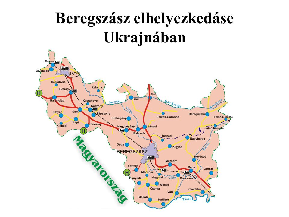 Beregszász elhelyezkedáse Ukrajnában