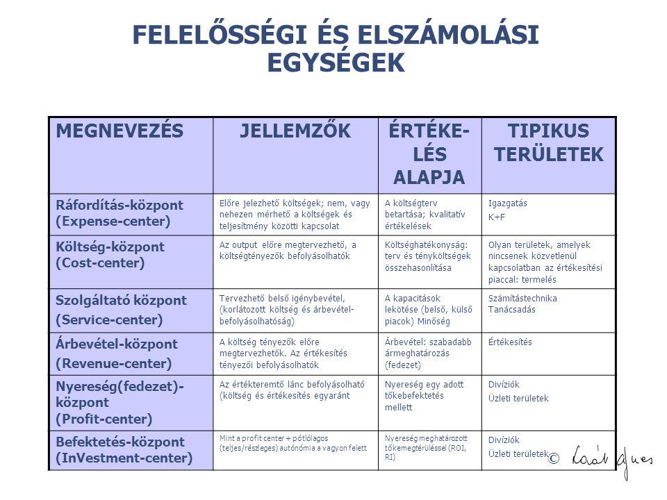 FELELŐSSÉGI ÉS ELSZÁMOLÁSI EGYSÉGEK