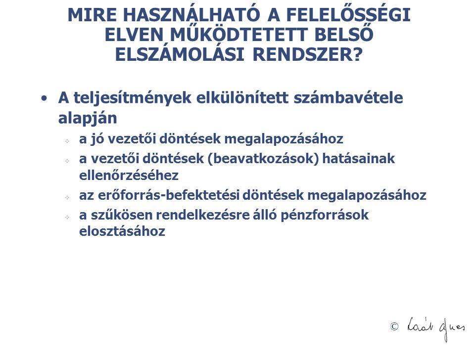 MIRE HASZNÁLHATÓ A FELELŐSSÉGI ELVEN MŰKÖDTETETT BELSŐ ELSZÁMOLÁSI RENDSZER