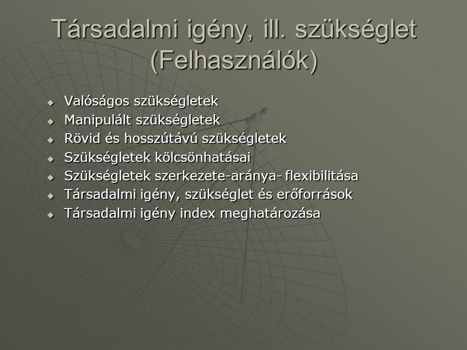 Társadalmi igény, ill. szükséglet (Felhasználók)