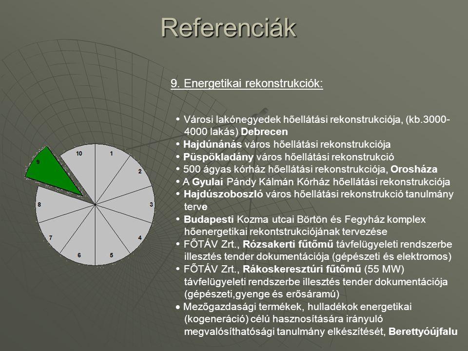 Referenciák 9. Energetikai rekonstrukciók: