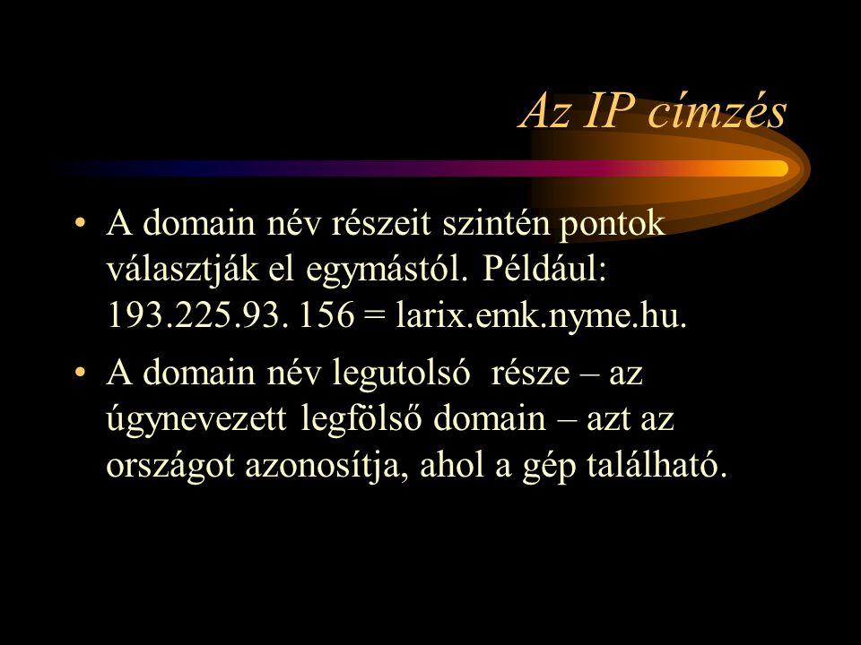 Az IP címzés A domain név részeit szintén pontok választják el egymástól. Például: 193.225.93. 156 = larix.emk.nyme.hu.