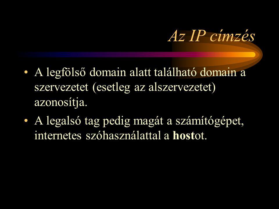 Az IP címzés A legfölső domain alatt található domain a szervezetet (esetleg az alszervezetet) azonosítja.
