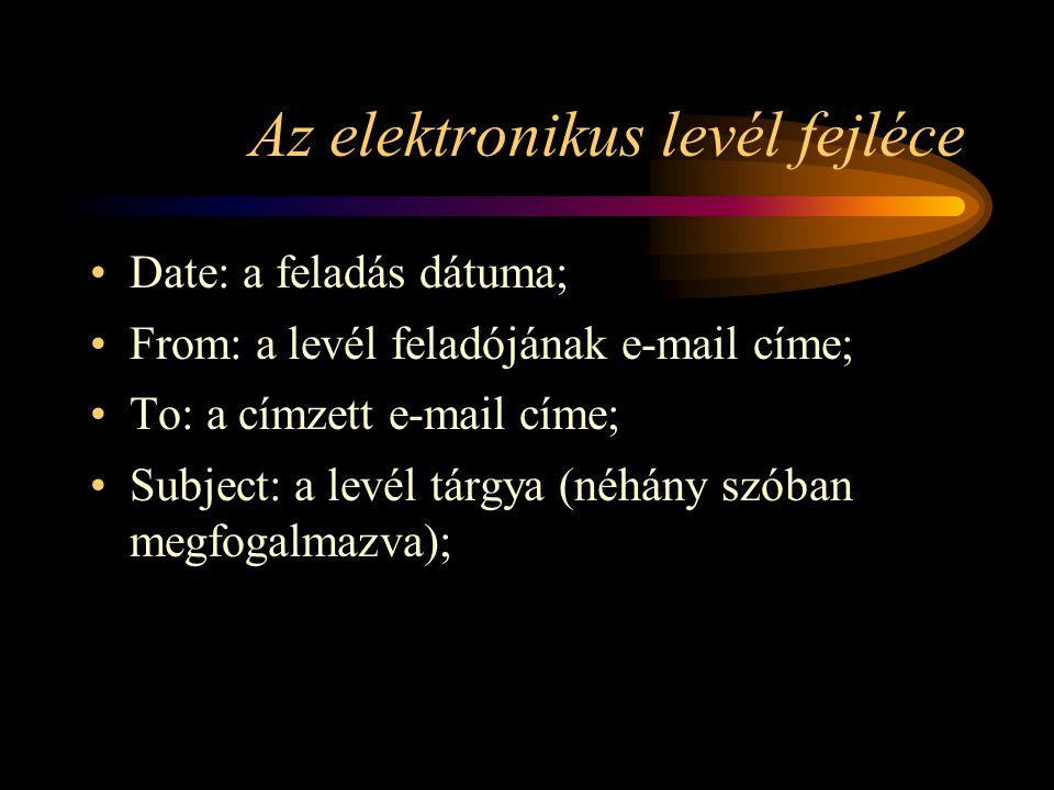 Az elektronikus levél fejléce