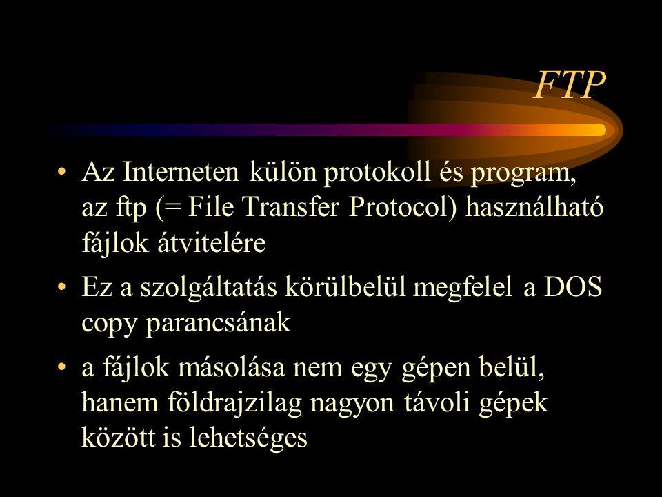 FTP Az Interneten külön protokoll és program, az ftp (= File Transfer Protocol) használható fájlok átvitelére.