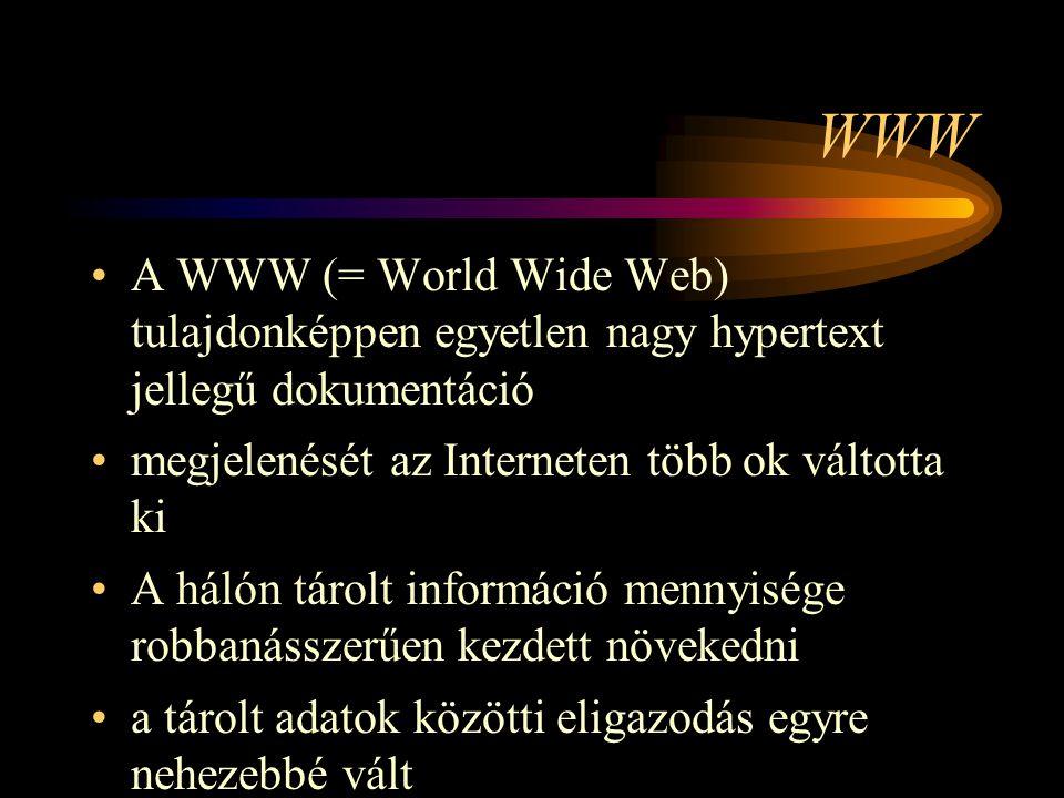 WWW A WWW (= World Wide Web) tulajdonképpen egyetlen nagy hypertext jellegű dokumentáció. megjelenését az Interneten több ok váltotta ki.