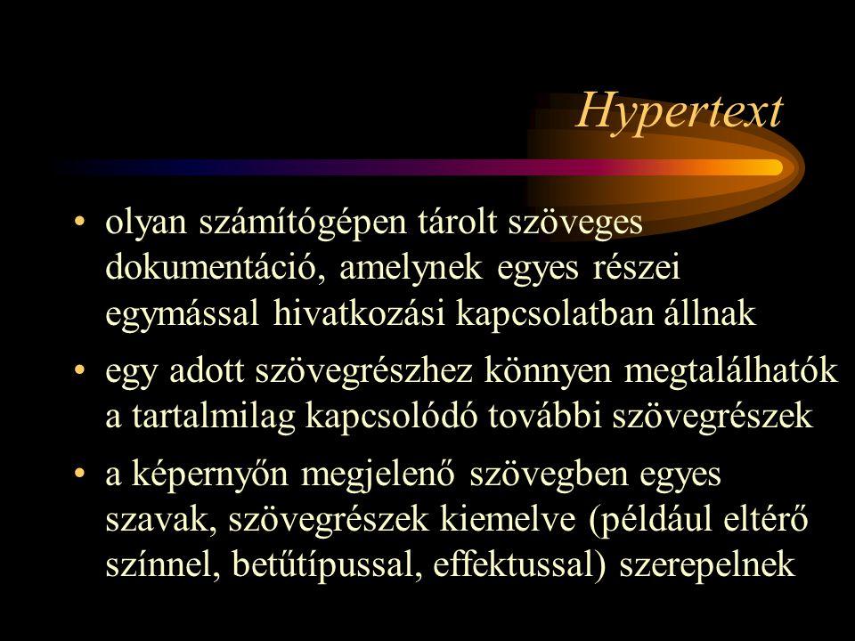 Hypertext olyan számítógépen tárolt szöveges dokumentáció, amelynek egyes részei egymással hivatkozási kapcsolatban állnak.