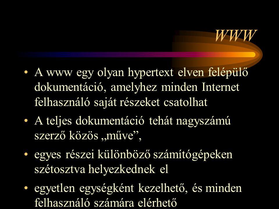 WWW A www egy olyan hypertext elven felépülő dokumentáció, amelyhez minden Internet felhasználó saját részeket csatolhat.