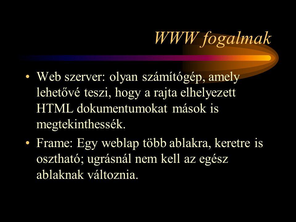 WWW fogalmak Web szerver: olyan számítógép, amely lehetővé teszi, hogy a rajta elhelyezett HTML dokumentumokat mások is megtekinthessék.