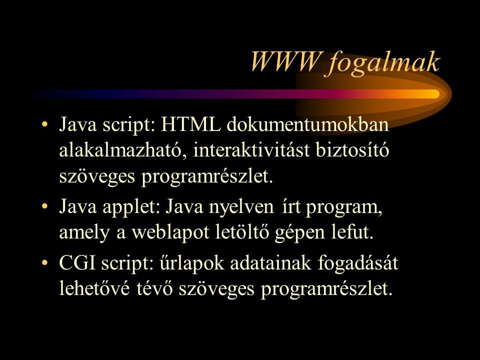 WWW fogalmak Java script: HTML dokumentumokban alakalmazható, interaktivitást biztosító szöveges programrészlet.
