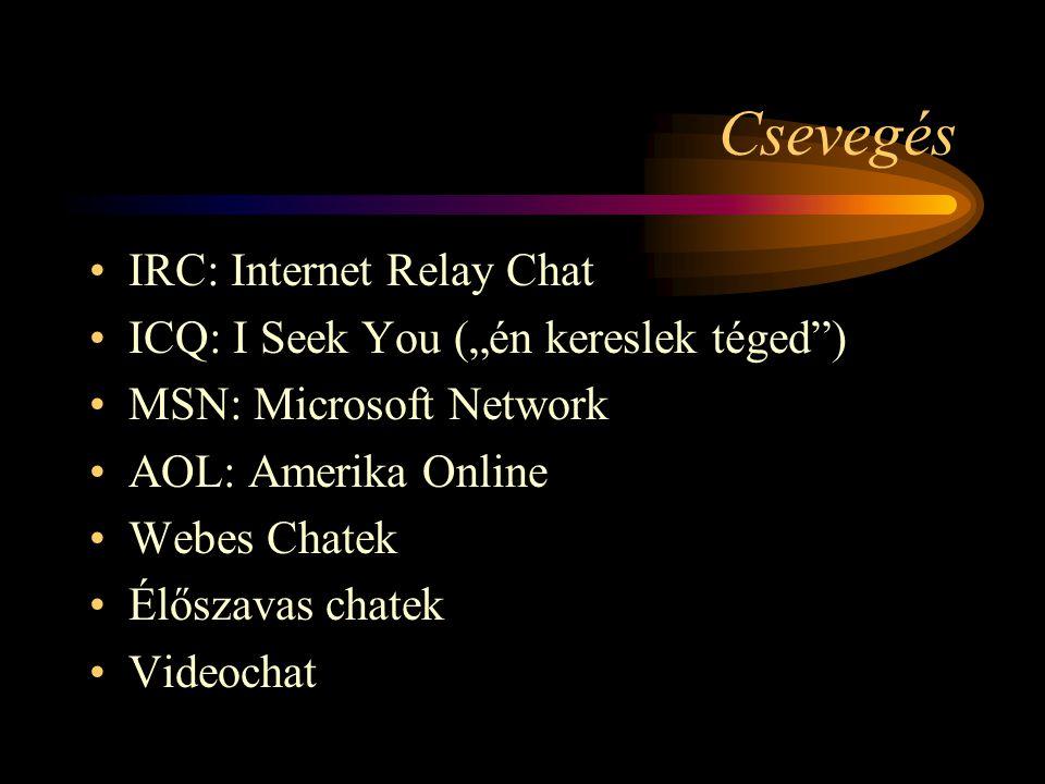 Csevegés IRC: Internet Relay Chat