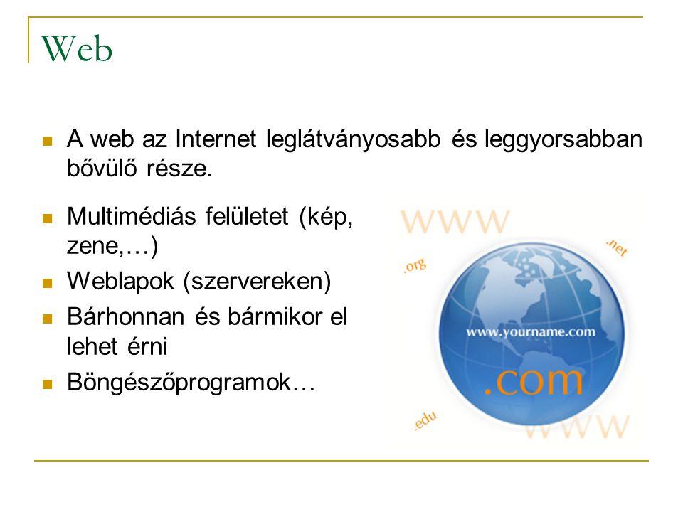 Web A web az Internet leglátványosabb és leggyorsabban bővülő része.