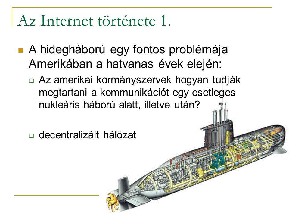 Az Internet története 1. A hidegháború egy fontos problémája Amerikában a hatvanas évek elején: