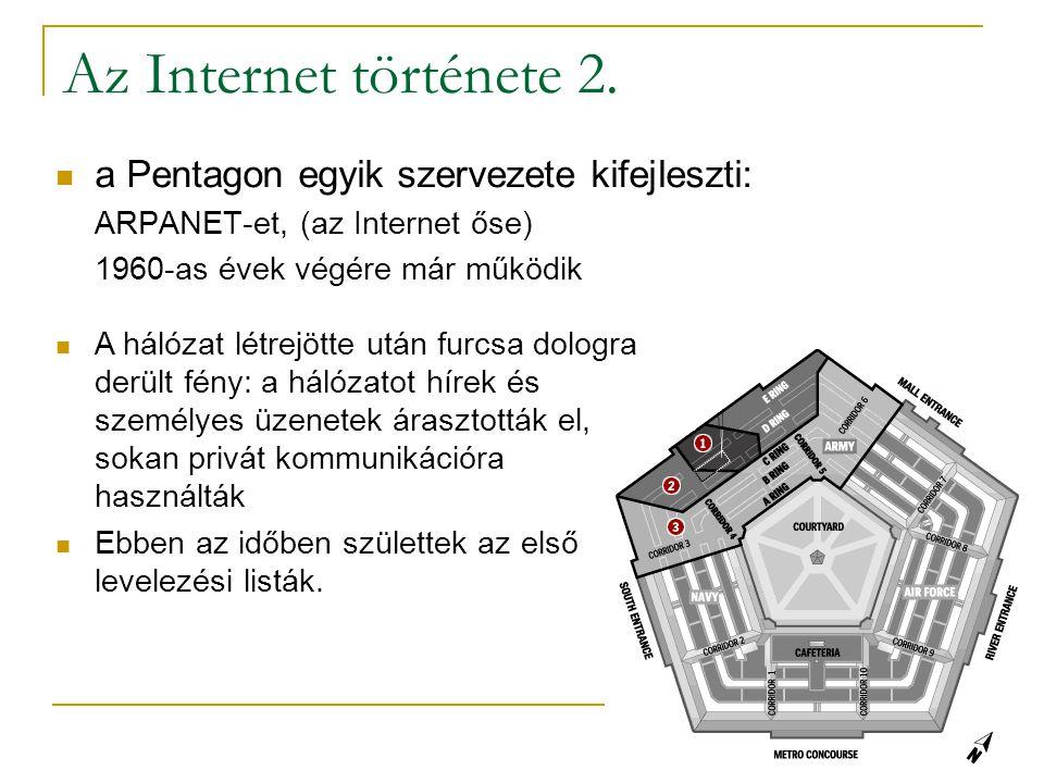 Az Internet története 2. a Pentagon egyik szervezete kifejleszti: