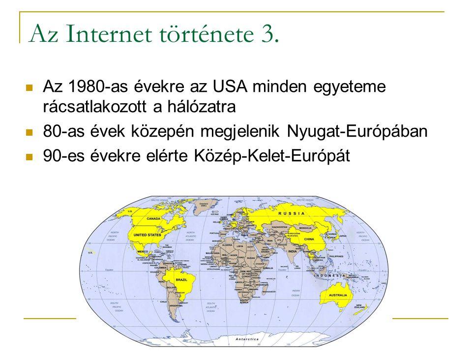 Az Internet története 3. Az 1980-as évekre az USA minden egyeteme rácsatlakozott a hálózatra. 80-as évek közepén megjelenik Nyugat-Európában.