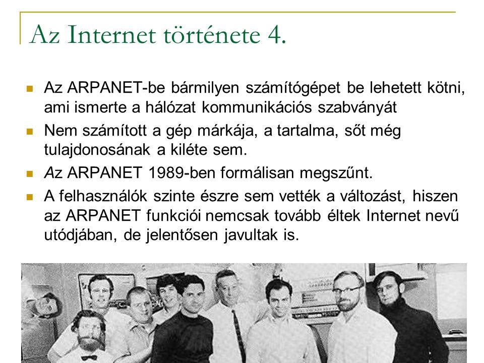 Az Internet története 4. Az ARPANET-be bármilyen számítógépet be lehetett kötni, ami ismerte a hálózat kommunikációs szabványát.
