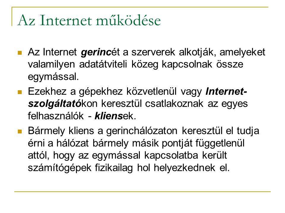 Az Internet működése Az Internet gerincét a szerverek alkotják, amelyeket valamilyen adatátviteli közeg kapcsolnak össze egymással.