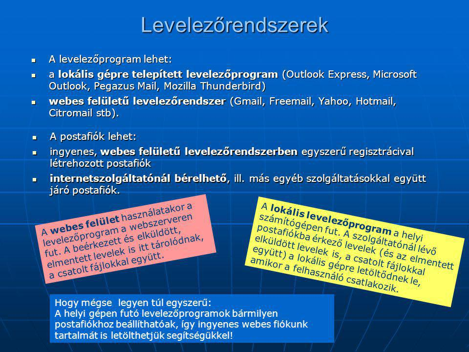 Levelezőrendszerek A levelezőprogram lehet: