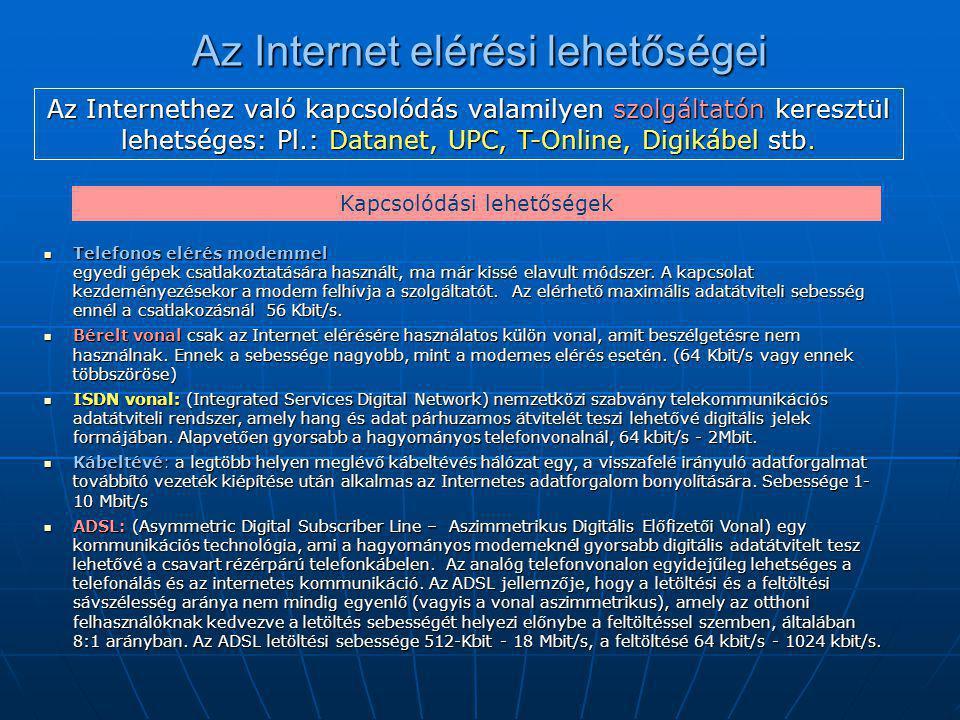 Az Internet elérési lehetőségei