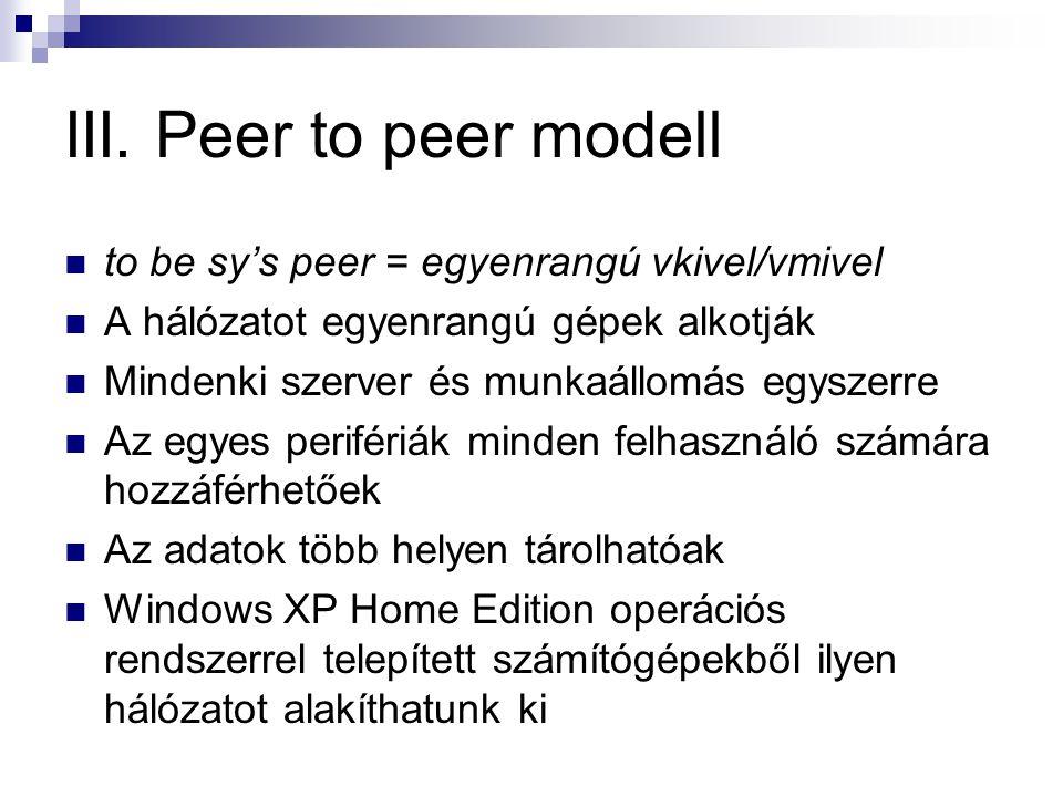 III. Peer to peer modell to be sy's peer = egyenrangú vkivel/vmivel